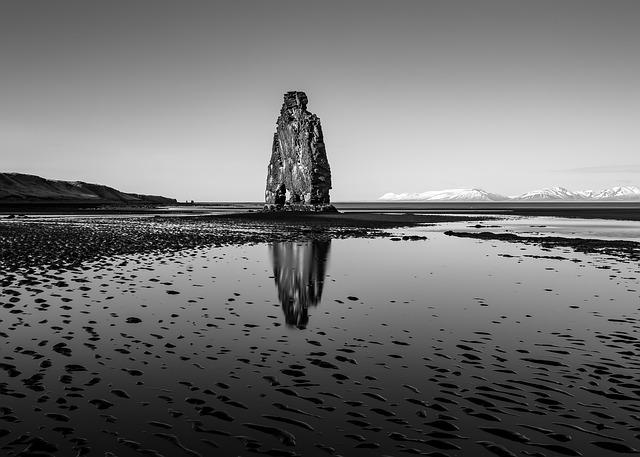 Iceland, Beach, Sea, Ocean, Formation, Crag, Rock