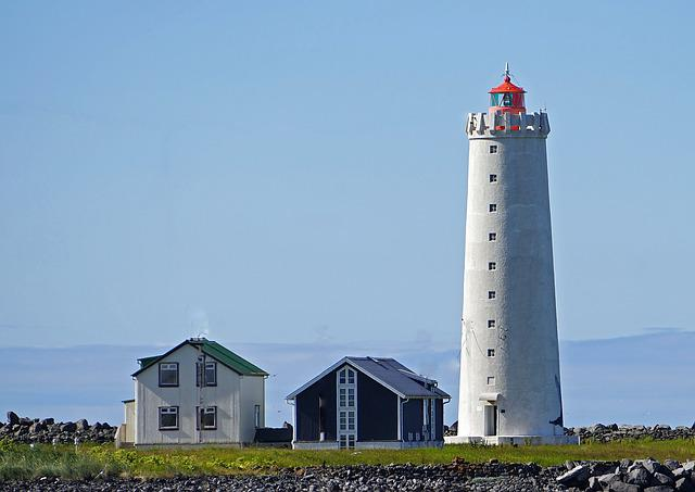 Lighthouse, Reykjavik, Sky, Blue, Coast, Iceland