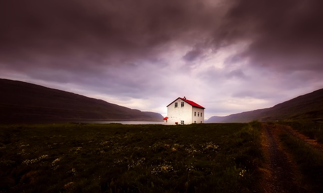 Iceland, House, Home, Remote, Mountains, Sunset, Dusk