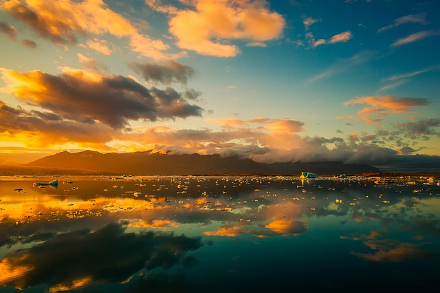 Iceland, Sky, Clouds, Beautiful, Sunrise, Sunset, Lake