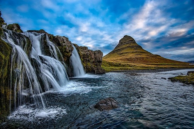 Iceland, Mountains, Kirkjufell, Waterfall, Falls