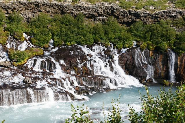 Hraunfossar Waterfall, Iceland, Waterfall, Landscape