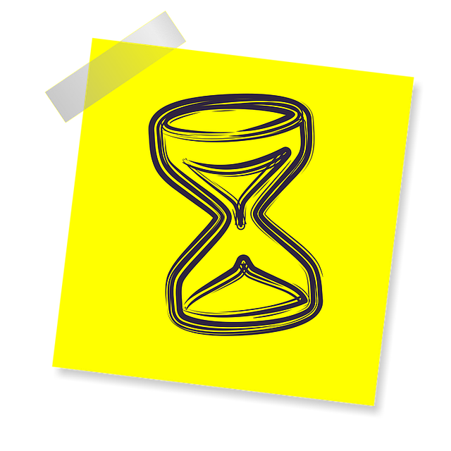 Hourglass, Sign, Icon, Reminder, Yellow Sticker, Post