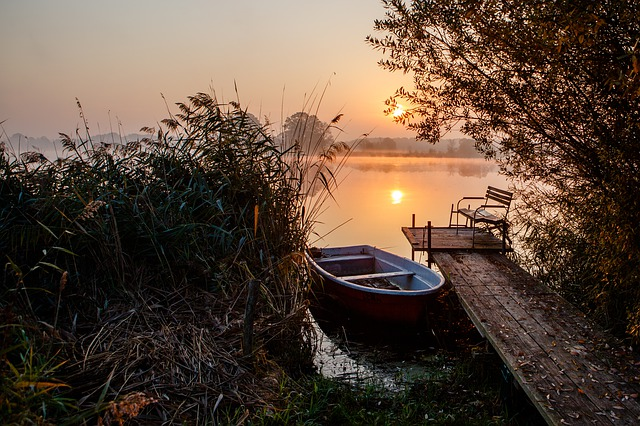Morning, Boat, Pier, Water, Sunrise, Channel, Idyll