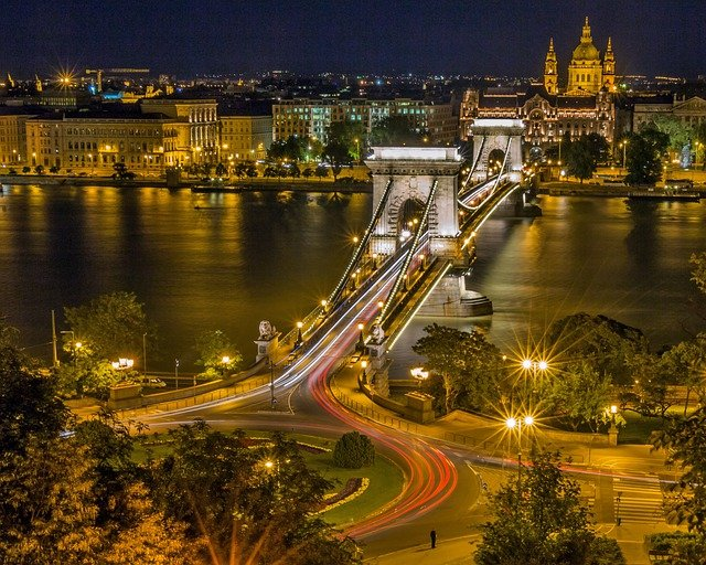 Bridge, River, City, Urban, Night, Evening, Illuminated