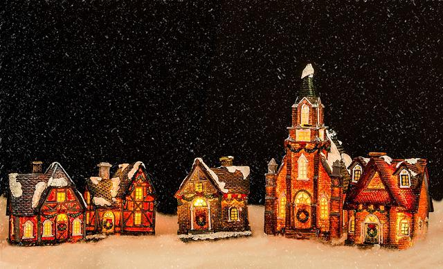 Christmas Decoration, Church, Houses, Illuminated