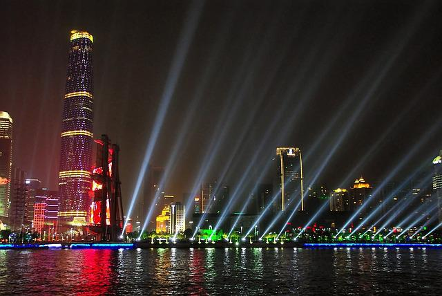China, Guangdong, Illumination, Nocturne, Shore