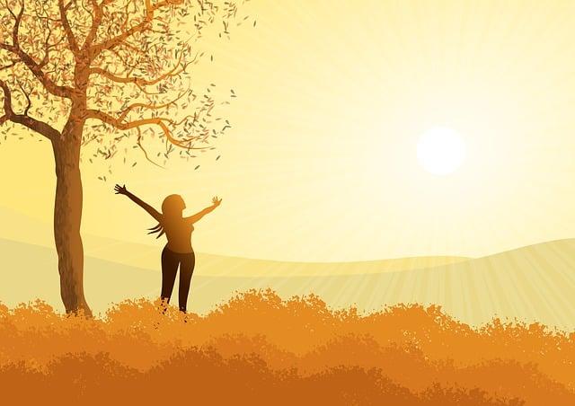 Landscape, Illustration, Autumn, Woman, Sol, Brightness