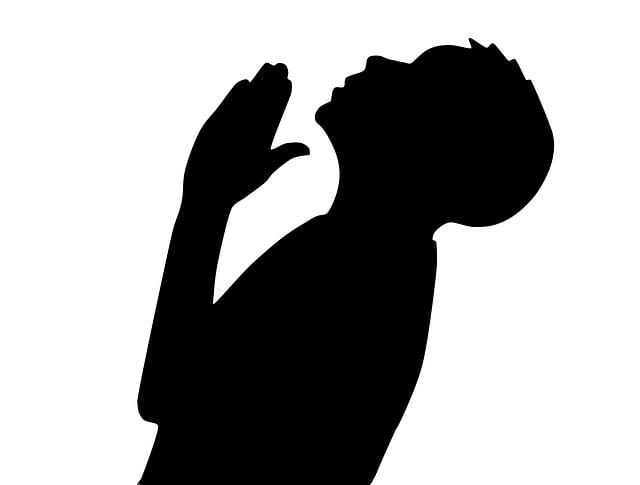 Man, Praying, Shadow, Illustration, Silhouette