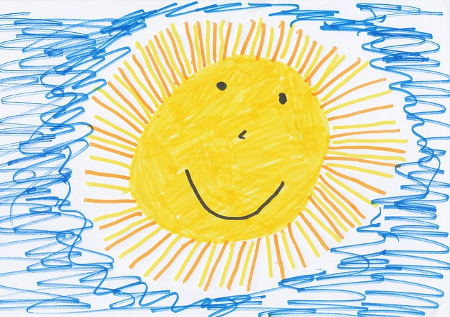 Sun, Children Drawing, Image, Drawing, Paint