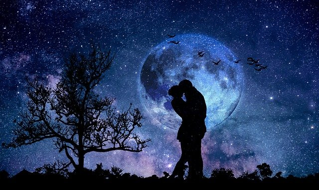 Moon, Couple, Blue, Love, In Love, Valentine's Day