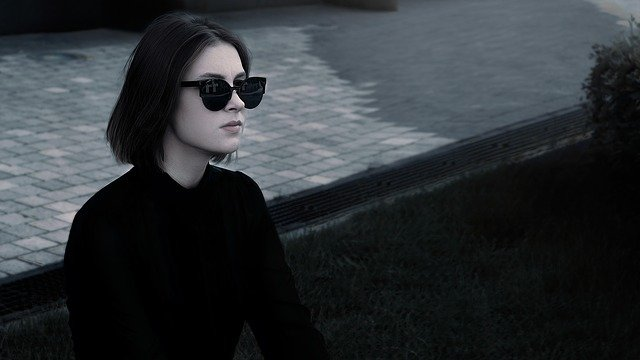 Fashionable Girl, In Glasses, In The Black, Pants