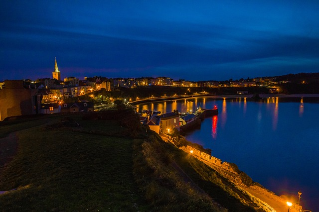 Bay, In The Evening, Tenby, Ocean, Lights, Wales