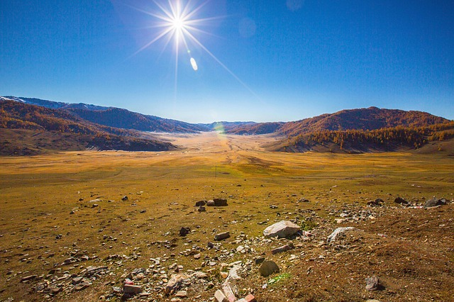 China, In Xinjiang, Sun, Blue Sky