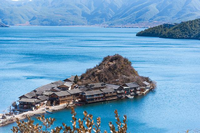 Lugu Lake, China, In Yunnan Province, Mountain, Natural