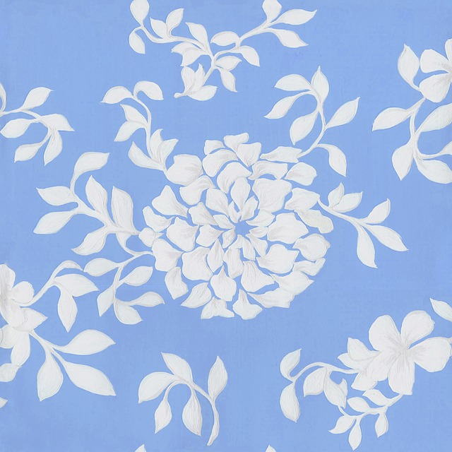 Pattern, Flowers, Leaf, Blue, Inclined Step, White