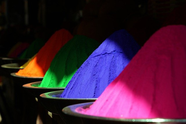 Color, Farbpulver, India, Holi, Holipulver, Colorful