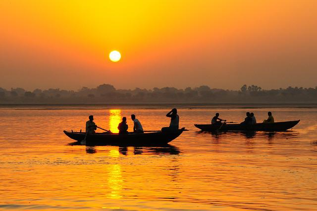 India, Varinasi, Ganges, Boats