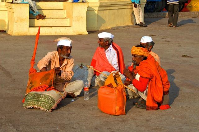 India, Men, Sadhus Of India, Sit, Relax, Orange, Group