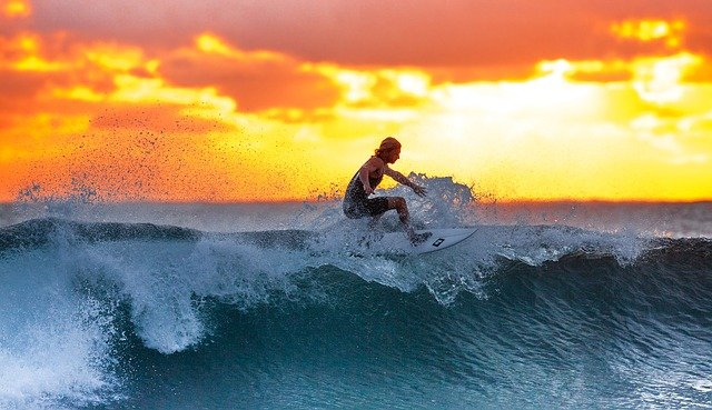 Surfing, Sunset, Sea, Java Island, Indonesia, Water