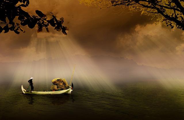 Fishermen, Boat, Asia, Indonesian, Traditional, River