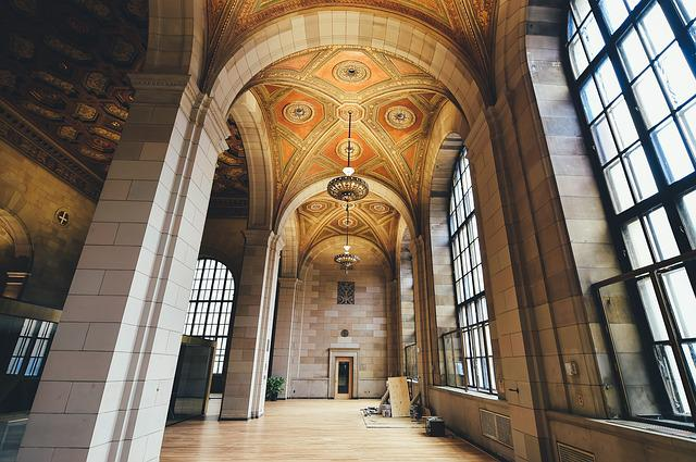 Arches, Architecture, Building, Chandeliers, Indoors