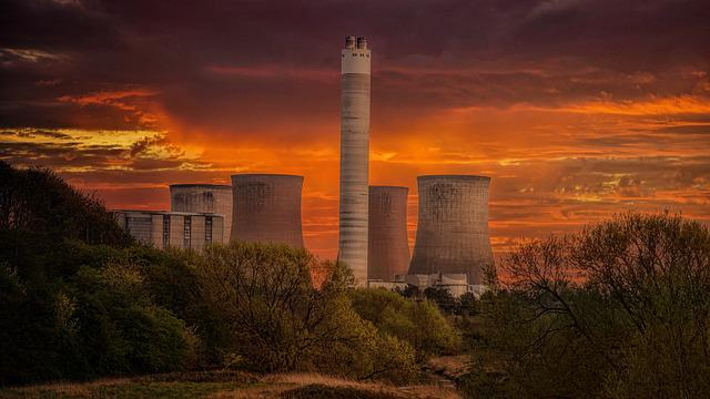 Cooling Towers, Industry, Evening, Meadow, Contrast
