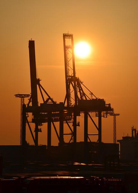 Harbour Cranes, Gantry Cranes, Industry, Port, Sunset
