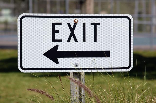 Exit Sign, Sign, Direction, Arrow, Information, White