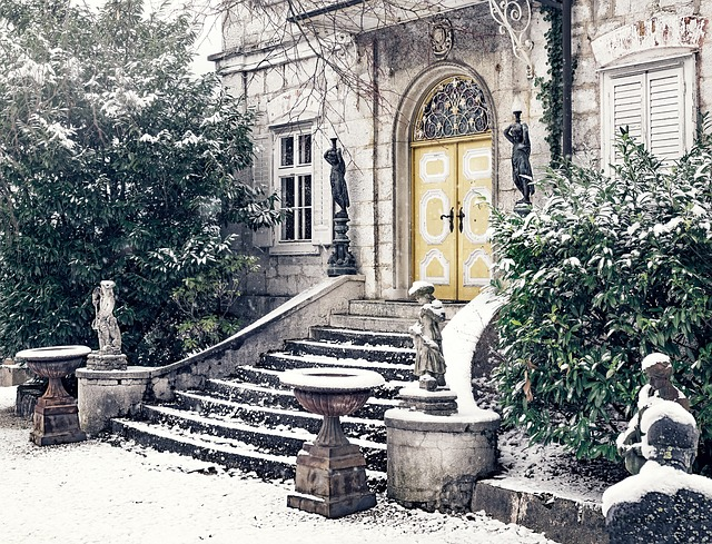 Villa, House, Staircase, Input, Snow, Winter, Wintry