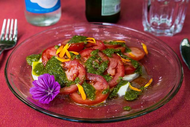 Insalata Caprese, Tomatoes, Mozarella, Pesto, Bio