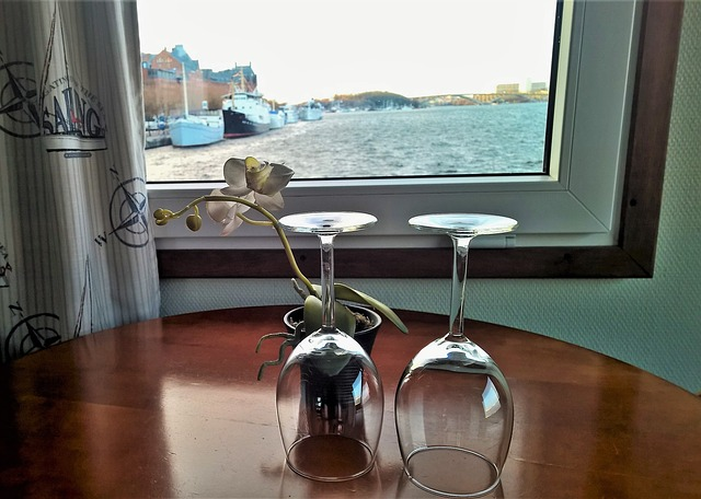 On The Ship, Wine Glasses, Inside, Under The Roof, Room