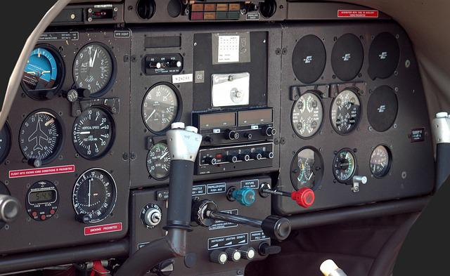 Airplane Cockpit, Aircraft, Instrument Panel, Gauges