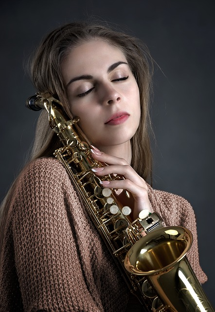 Girl, Music, Saxophone, Instrument, Playing, Woman