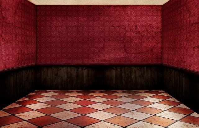 Room, Empty, Interior, Floor Tiles, Red, Wall, Vintage