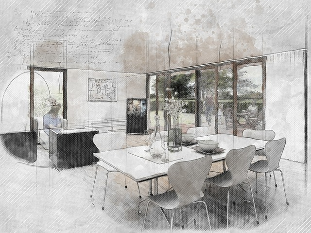 Interior, Sketch, Design, Drawing, Home, Architecture