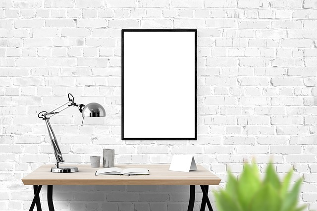 Poster, Mockup, Decor, Desk, Interior, Presentation