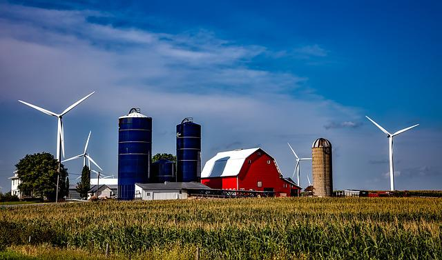 Iowa, Farm, Silos, Barn, Wind Turbines, Energy, Green