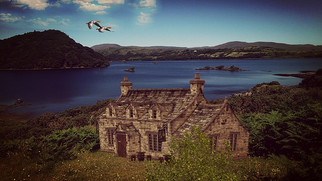 Lake, Landscape, Ireland, Nature, Home, Stone House