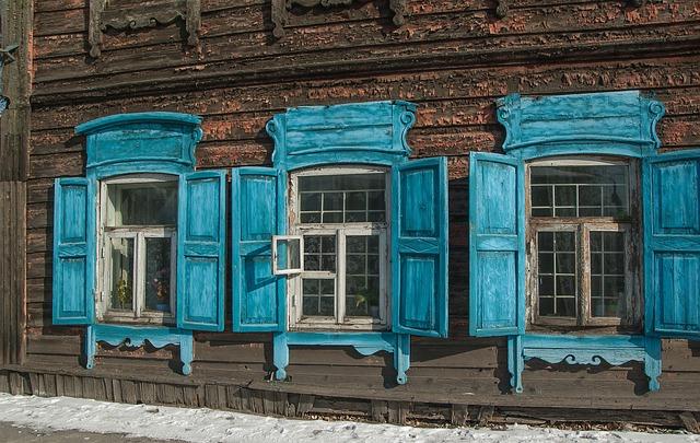 Siberia, Irkutsk, Wooden Houses