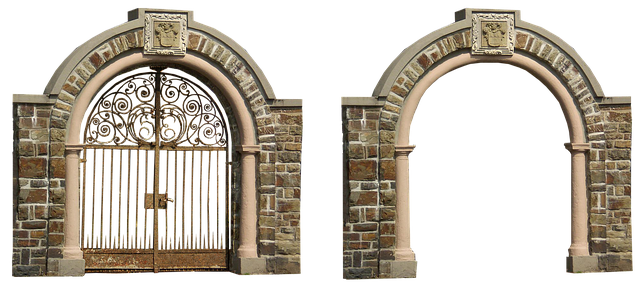 Free Photo Iron Arch Archway Isolated Goal Architecture