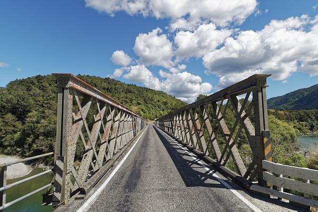 New Zealand, Iron Bridge, Buller River, Nature, Sky