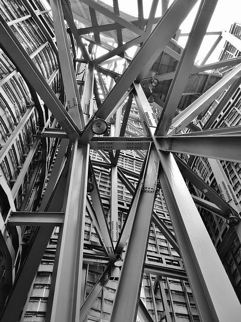 Architecture, Iron, Steel, Building, Black And White