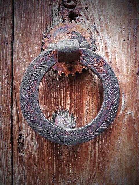 Ring, Door, Old, Iron, Wood