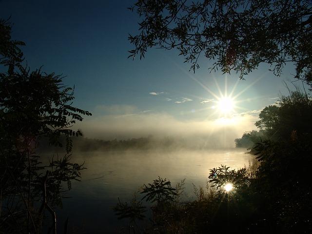 Dawn, Island, Drava, Nature, Fishing