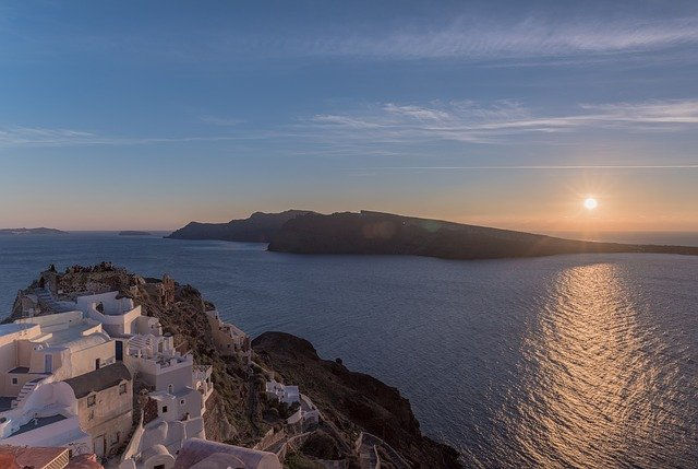Santorini, Castle, Sunset, Greece, Island, Architecture