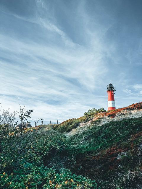 Lighthouse, Island, Meadow, Sylt, North Sea, Coast
