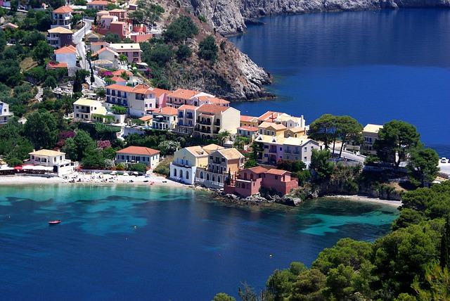 Sea Bay, Assos Village, Island Of Kefalonia, Greece