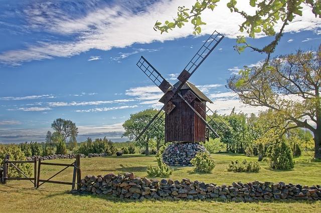 Estonia, Island Of Saaremaa, Windmill, Landscape