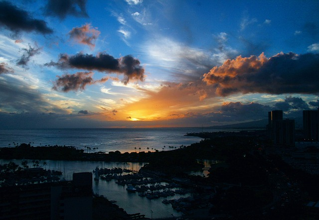 Sunset, Island, Paradise, Vacation, Sky, Clouds